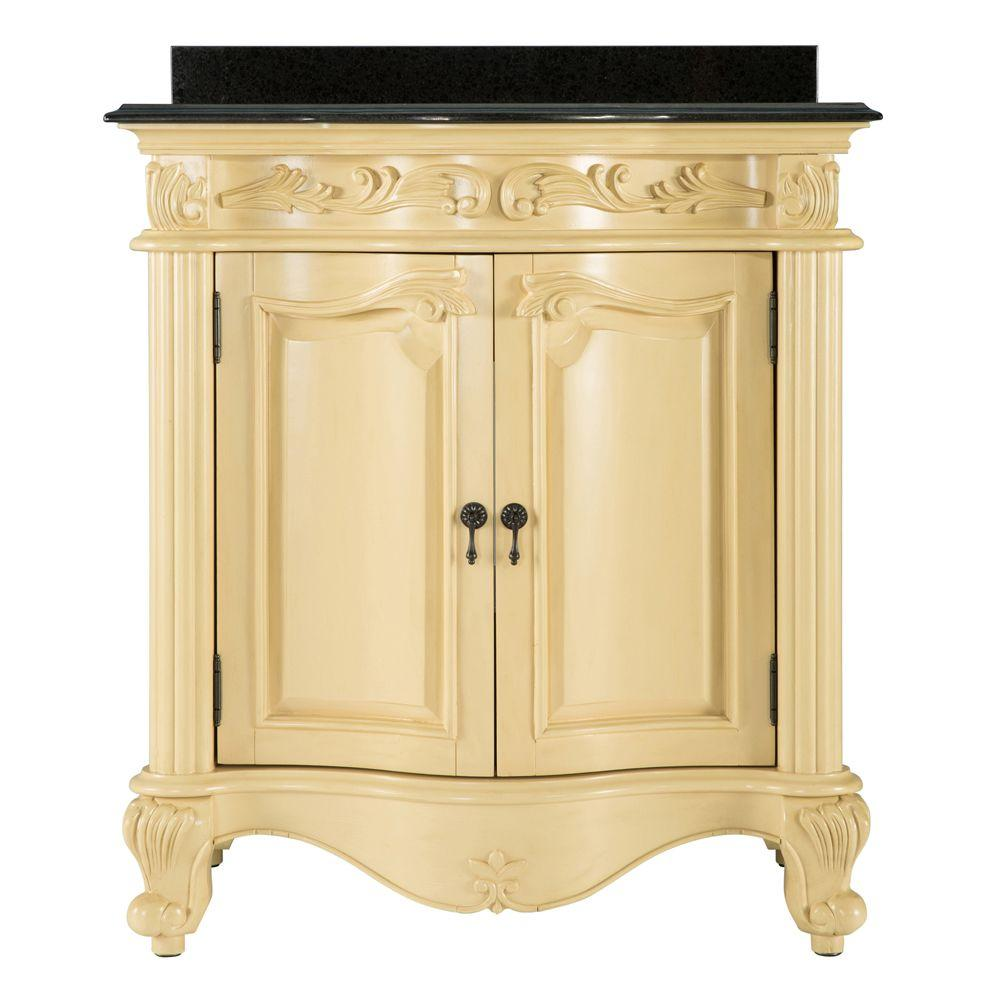 Incroyable Vanity In Antique White With Granite Vanity Top In Black