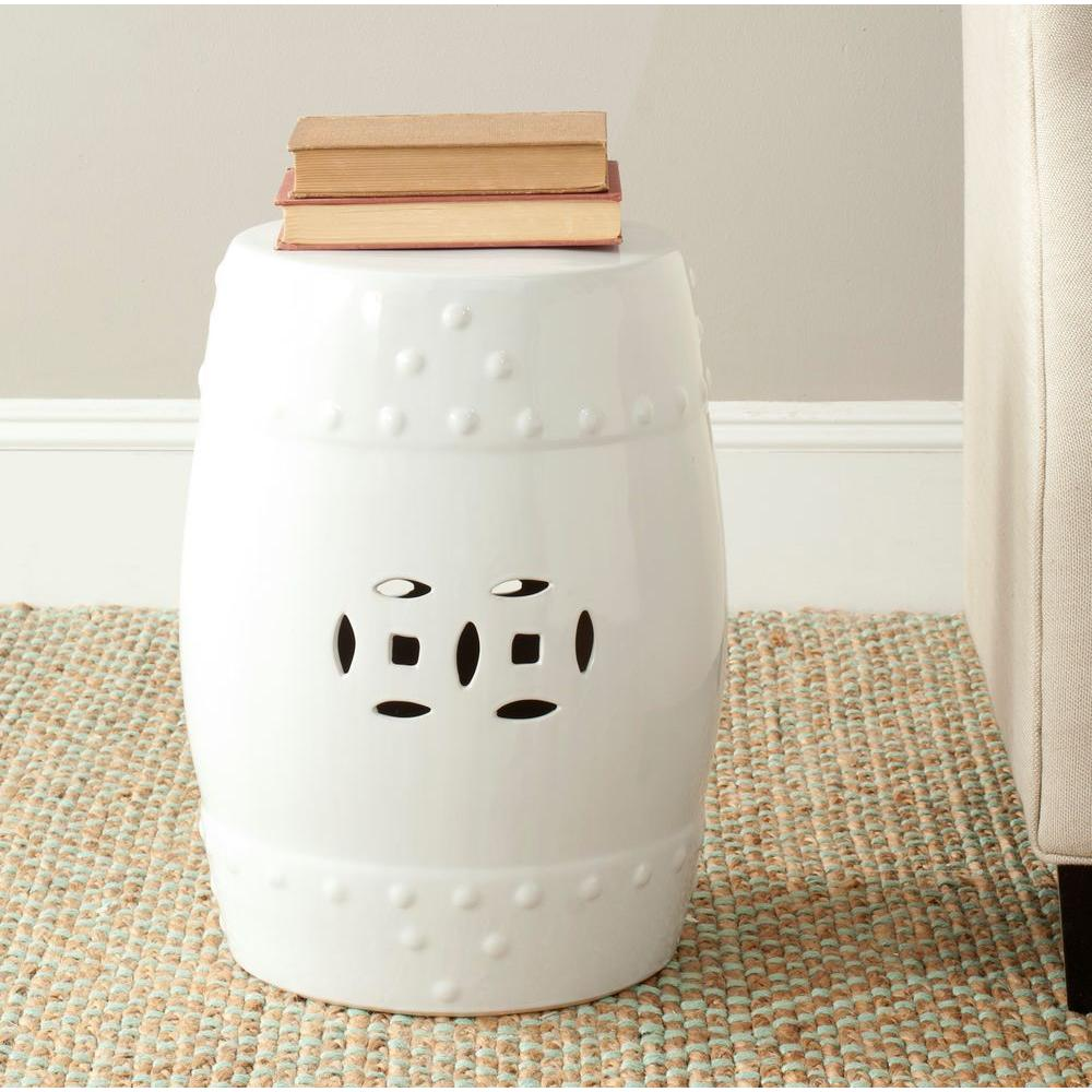 Safavieh Modern Ming White Garden Patio Stool