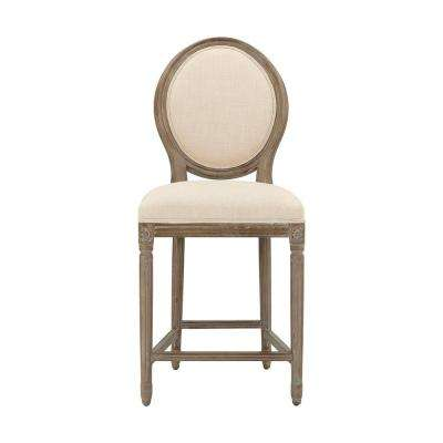 Jacques 26.5 in. Natural Cushioned Counter Stool in Antique Brown with Oval Back