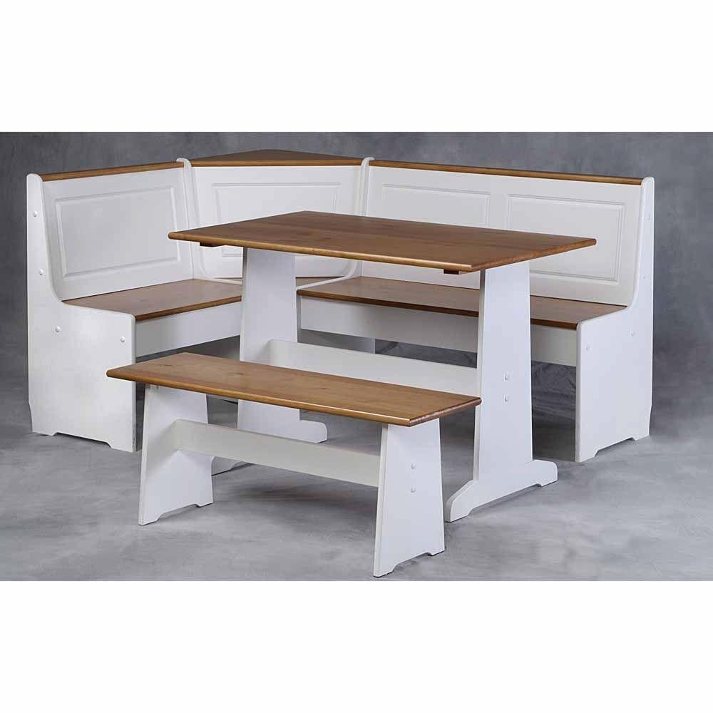 Bon Linon Home Decor Ardmore 3 Piece Set Corner Breakfast Nook