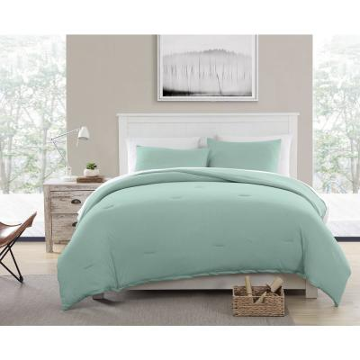 Recycled Cotton Blend T-shirt Jersey Teal Comforter Set, King