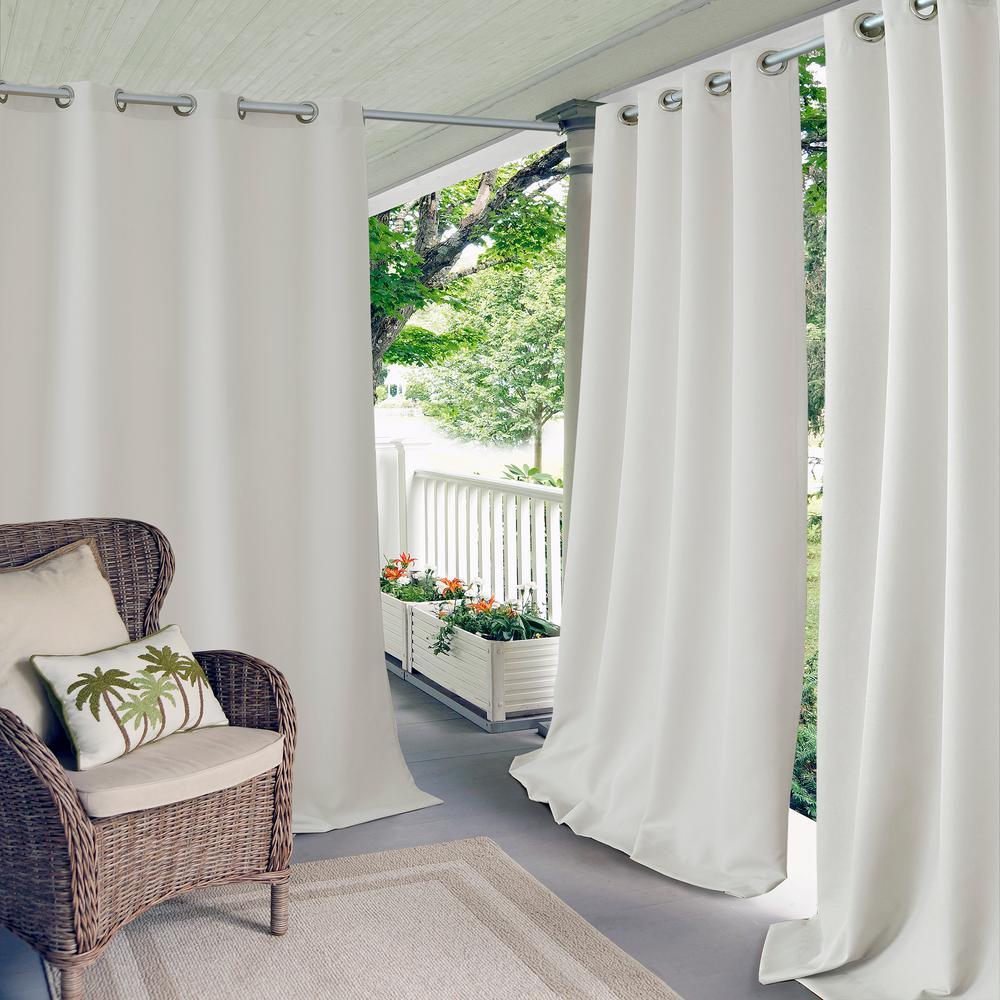 Semi-Opaque Connor 52 in. W x 108 in. L Indoor/Outdoor Solid Grommet Window Curtain White