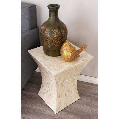 Beige Shell Inlaid Tapered Square Accent Table
