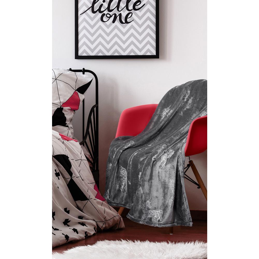 Kute Kids Unicorn Dreams Embossed Grey Velvet Plush Twin Blanket