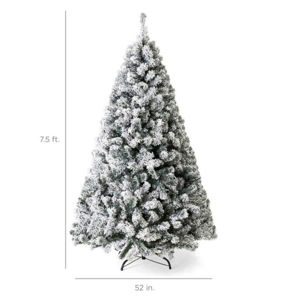 Best Choice Products 7 5 Ft Pre Lit Incandescent Flocked Artificial Christmas Tree With 550 Warm White Lights Sky5090 The Home Depot