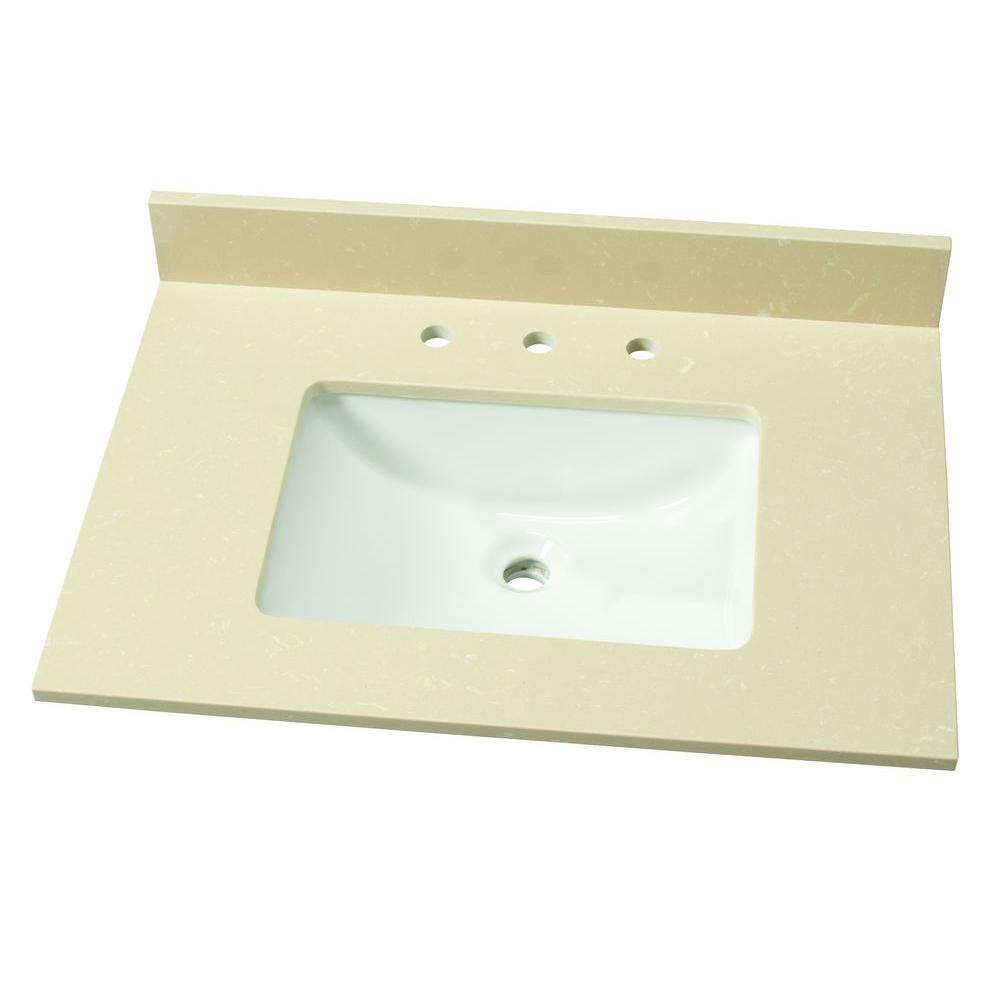 31 in. W Engineered Marble Single Vanity Top in Champagne Dunes