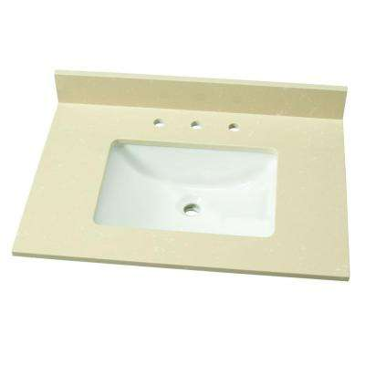31 in. W Engineered Marble Single Vanity Top in Champagne Dunes with White Basin