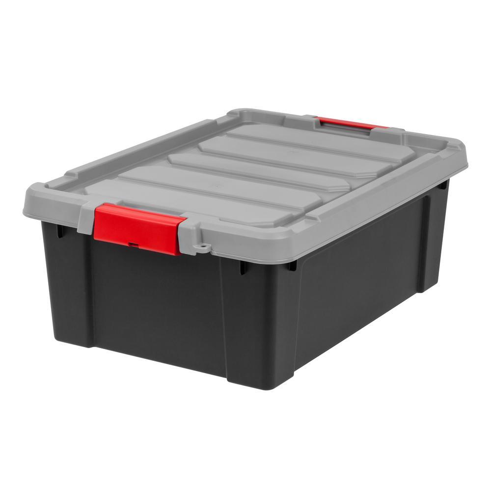 IRIS 10 Gal. Store-It-All Storage Bin in Black