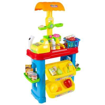 Pretend Play Grocery Store Stand with Cash Register and Accessories