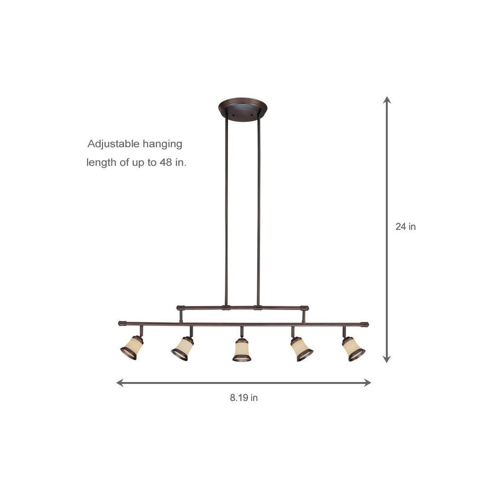 Hampton Bay 5 Light Antique Bronze Adjule Height Track Lighting Fixture With Multi Directional Spotlights