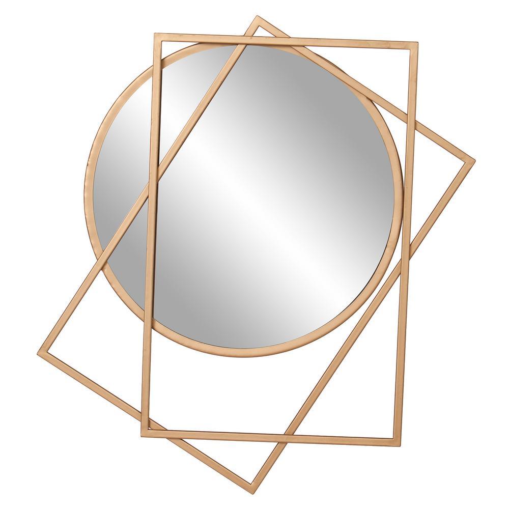 Medium Round Gold Modern Mirror (24 in. H x 21 in. W)