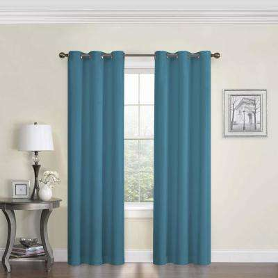 Blackout Microfiber 84 in. L Peacock Grommet Curtain