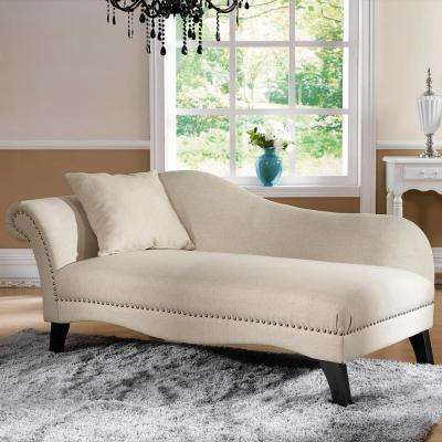 Phoebe Traditional Beige Fabric Upholstered Chaise