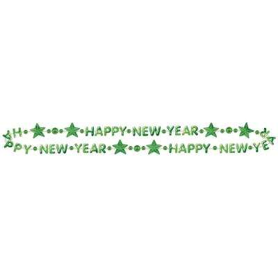 New Year's 32 in. Green Beaded Necklace (14-Pack)