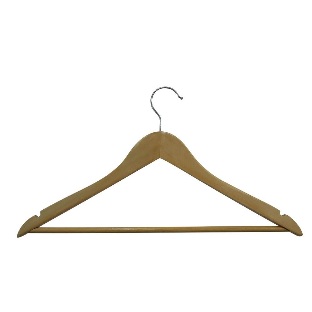 Hdx Natural Finish Wooden Hangers 5 Pack
