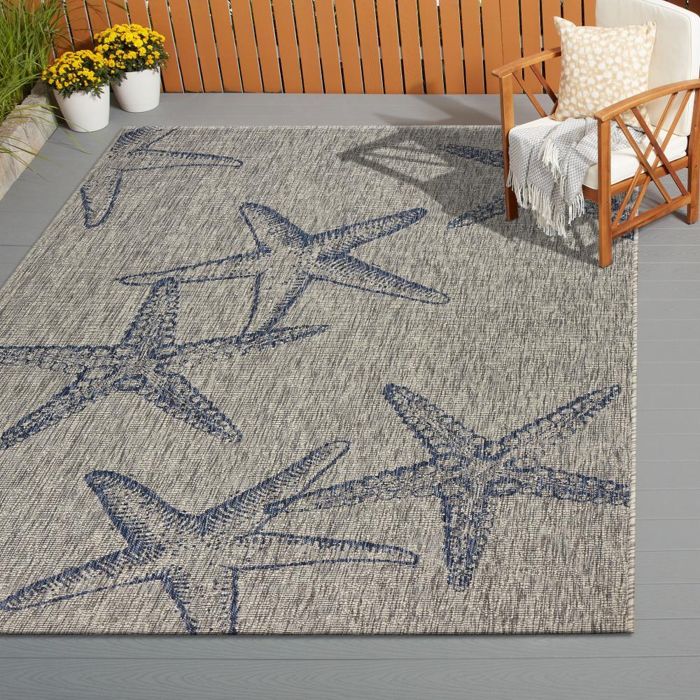 Captiva Gray/Navy 7 ft. 9 in. x 9 ft. 5 in. Rectangle Indoor/Outdoor Area Rug