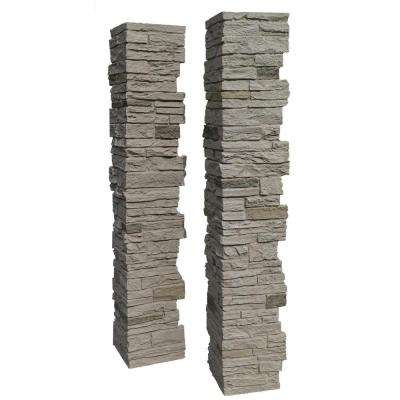 Slatestone Sahara 8 in. x 8 in. x 41 in. Faux Polyurethane Stone 2pc Post Cover