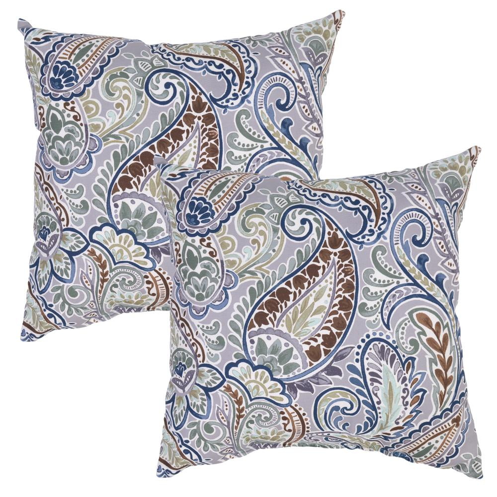 Charleston Paisley Square Outdoor Throw Pillow (2-Pack)