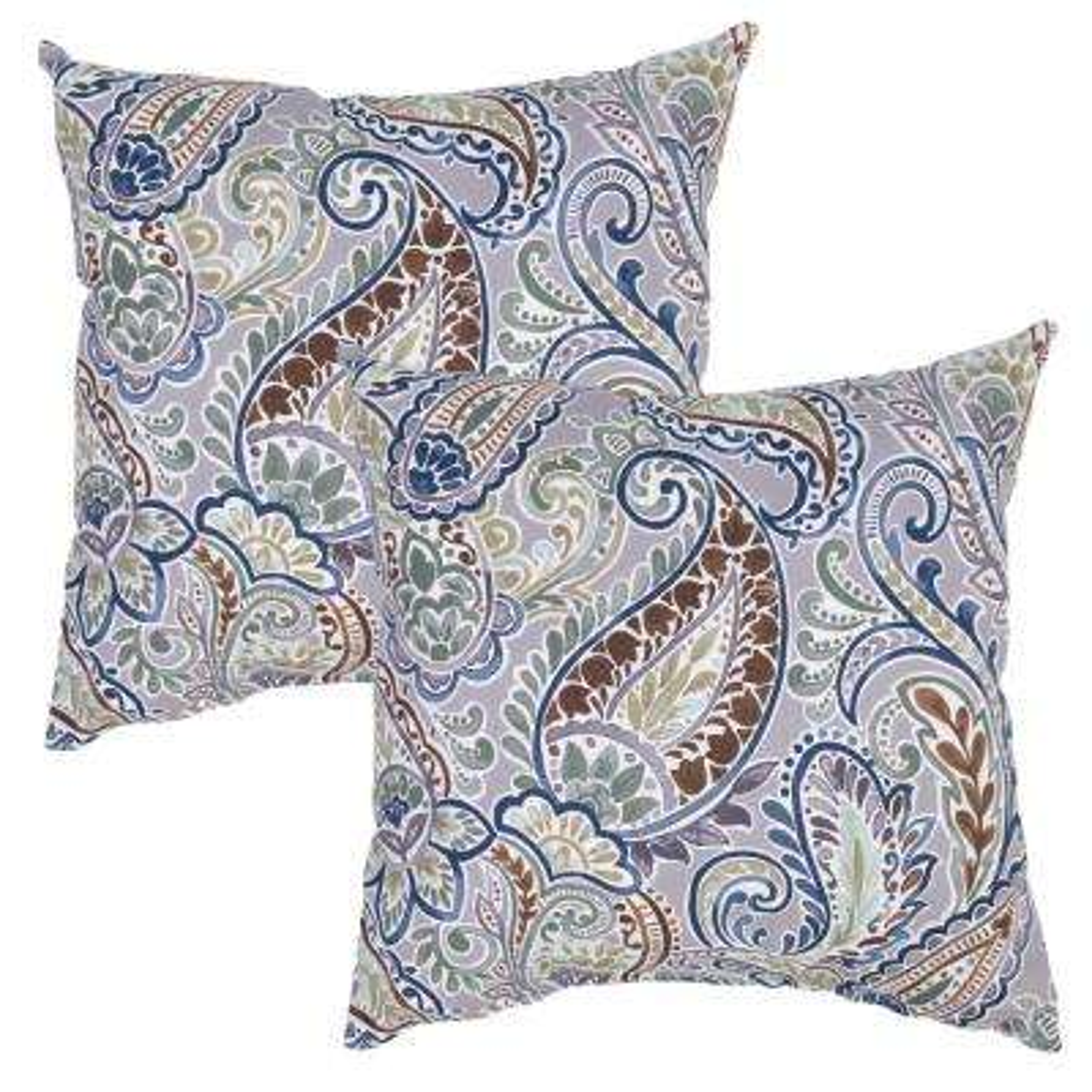 Nice Charleston Paisley Square Outdoor Throw Pillow (2 Pack)