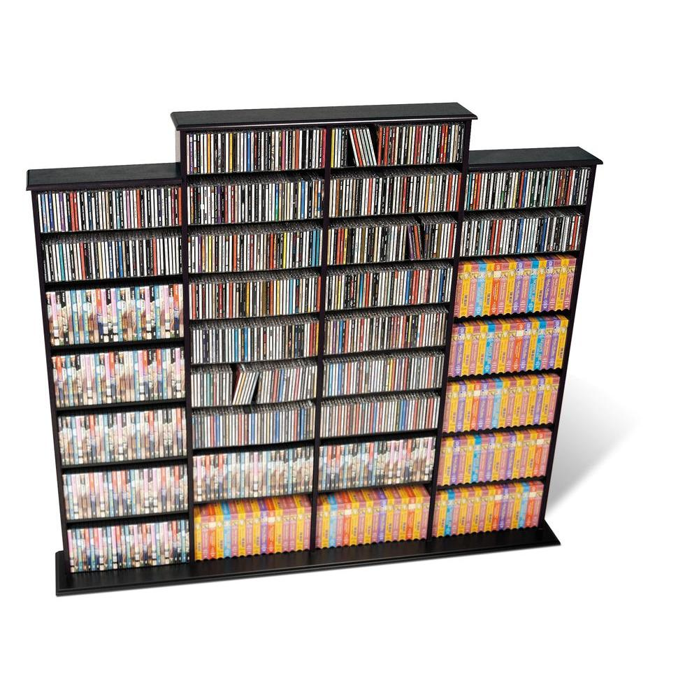 Prepac Black Media Storage You will never wish you had more storage space with the Quad Width Wall Storage. Its four separate compartments boast generous capacities for even commercial sized collections, and offer practical, fully adjustable shelves for easy customization. Stay organized thanks to the horizontal storage that makes sorting, filling and rearranging your collection a simple task. It's ideal for those as serious about their media storage as they are about their media collection. Color: Black.