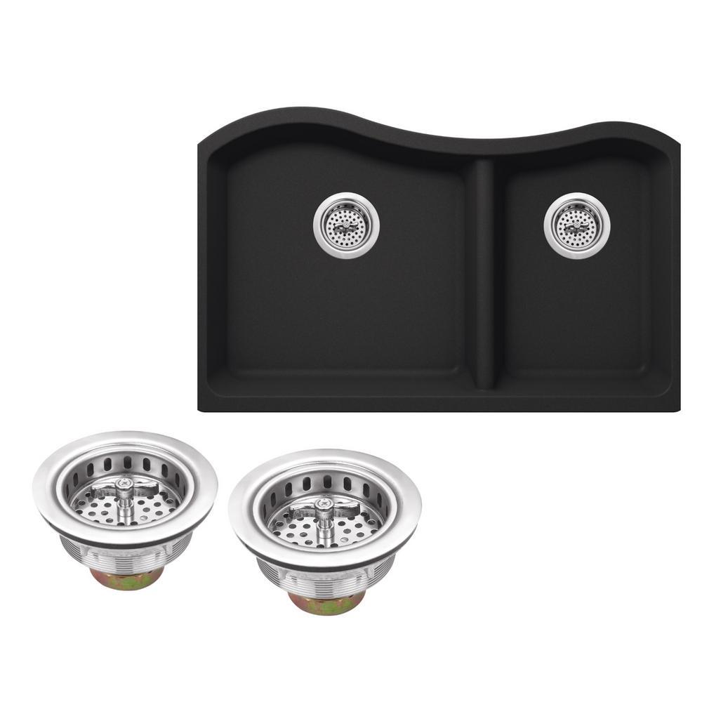 Undermount Granite Composite 32-1/2 in. Kitchen Sink in Onyx Black