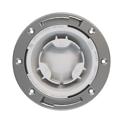 Fast Set 3 in. Outside Fit or 4 in. Inside Fit PVC Hub Toilet Flange with Test Cap and Stainless Steel Ring