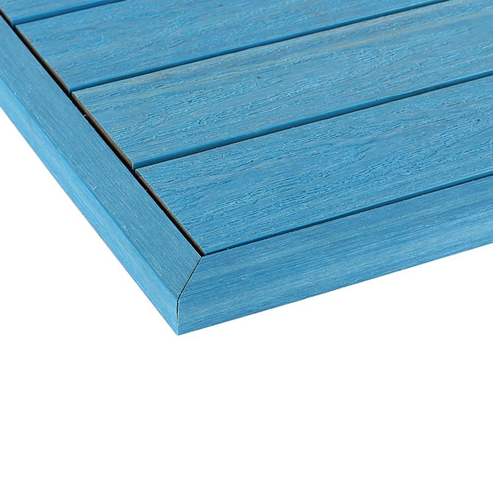 1/6 ft. x 13.95 in. Quick Deck Composite Deck Tile Outside End Corner Fascia in Caribbean Blue  (2-Piece/box)