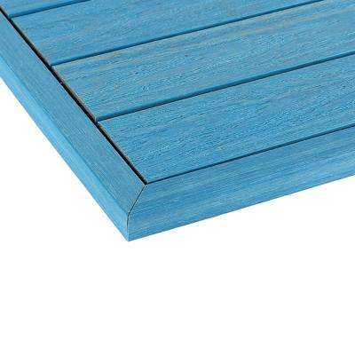 1/6 ft. x 13.95 in. Quick Deck Composite Deck Tile Outside End Corner Fascia in Caribbean Blue  (2-Pieces/box)