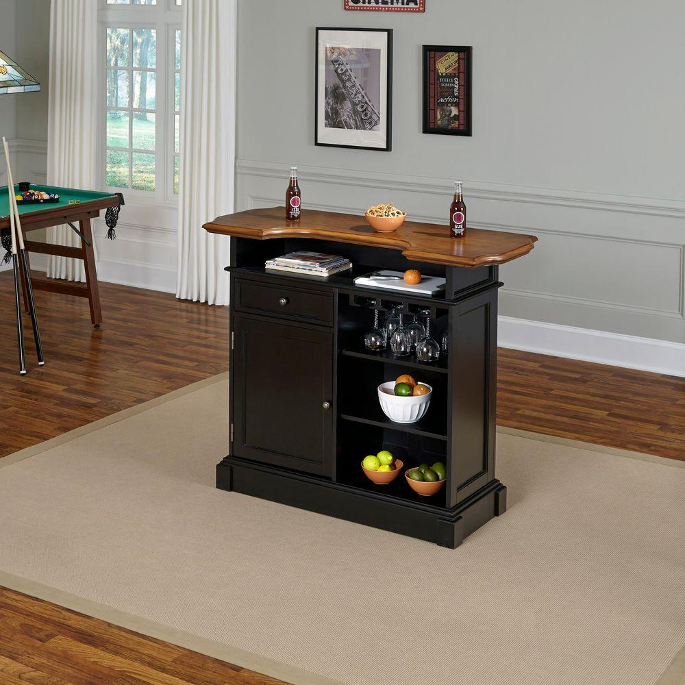 Elegant Home Styles Americana 4 Shelf Black And Oak Bar With Foot Rail