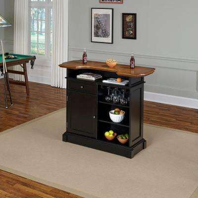Americana 4 Shelf Black And Oak Bar With Foot Rail