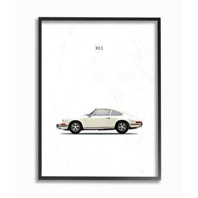 "16 in. x 20 in. ""Minimal Bold Whiteout 911 White Car Poster"" by Artist Mark Rogan Framed Wall Art"
