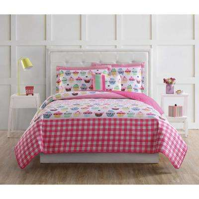 Cupcakes Printed 4-Piece Pink Queen Quilt Set