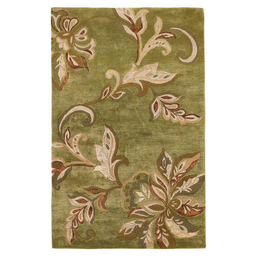 Kas Rugs Textured Bouquet Mint 3 ft. 6 in. x 5 ft. 6 in. Area Rug
