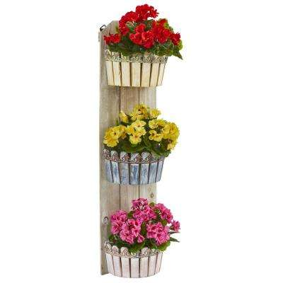 39 in. Indoor/Outdoor Geranium Artificial Plant in Three-Tiered Wall Decor Planter