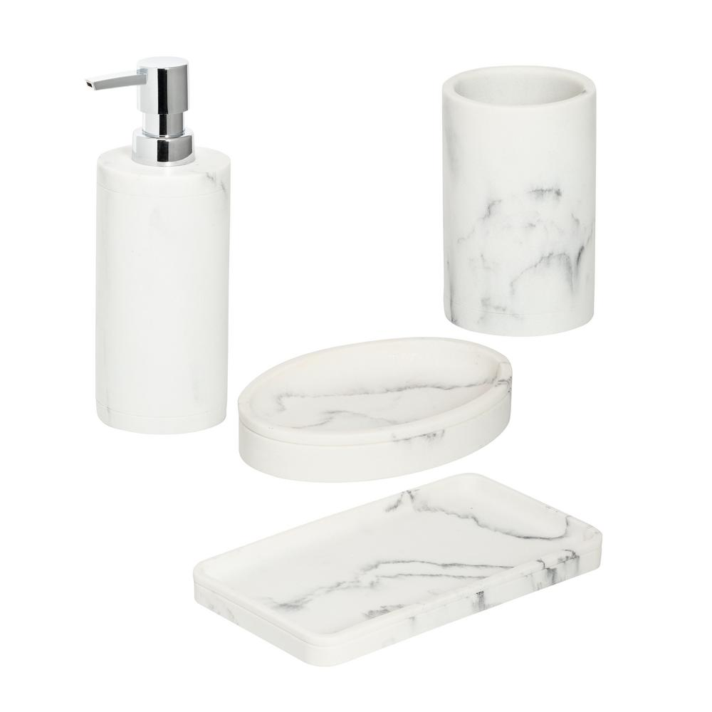 Honey Can Do 4 Piece Bathroom Accessories Set In Faux Marble Bth 08732 The Home Depot