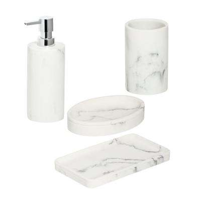 4-Piece Bathroom Accessories Set in Faux Marble
