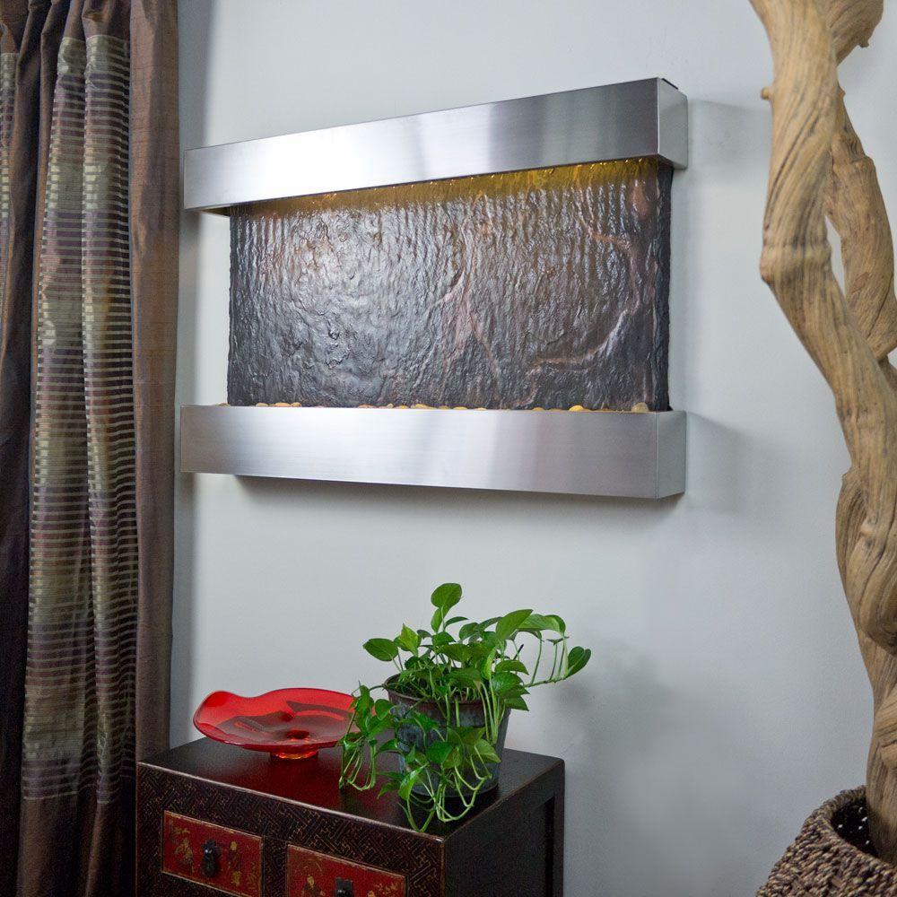 Medium Horizon Falls Lightweight Slate Wall Fountain in Stainless Steel Trim