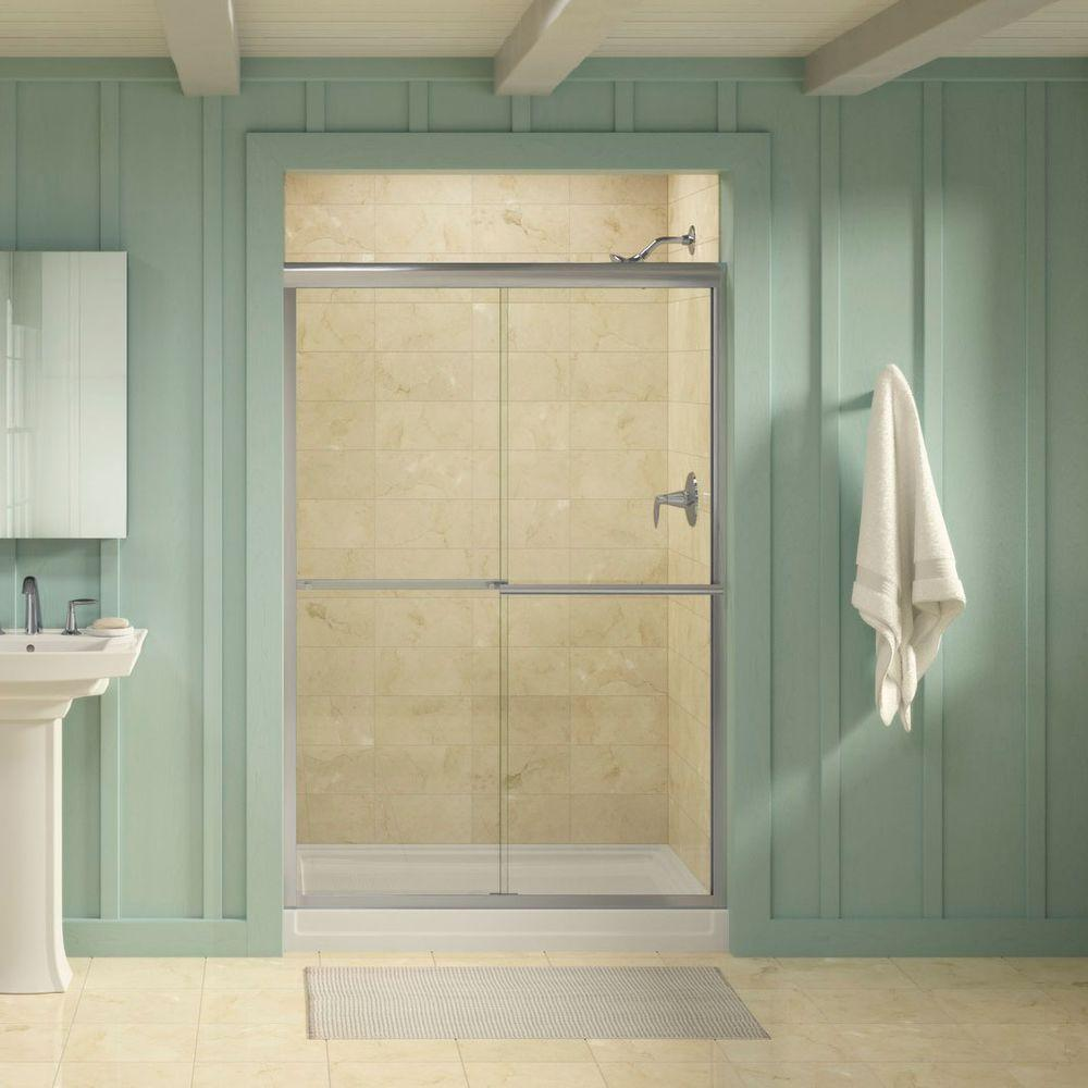 Gradient 47-5/8 in. x 70-1/16 in. Sliding Shower Door in Bright