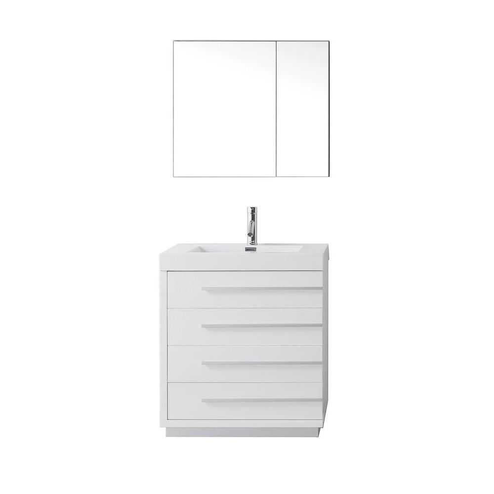 Virtu USA Bailey 30 in. W Vanity in Gloss White with Poly-Marble Vanity Top in White with White Basin and Mirror