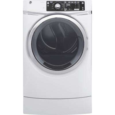 8.3 cu. ft. 240 Volt White Electric Vented Dryer with Steam and RightHeight Design, ENERGY STAR