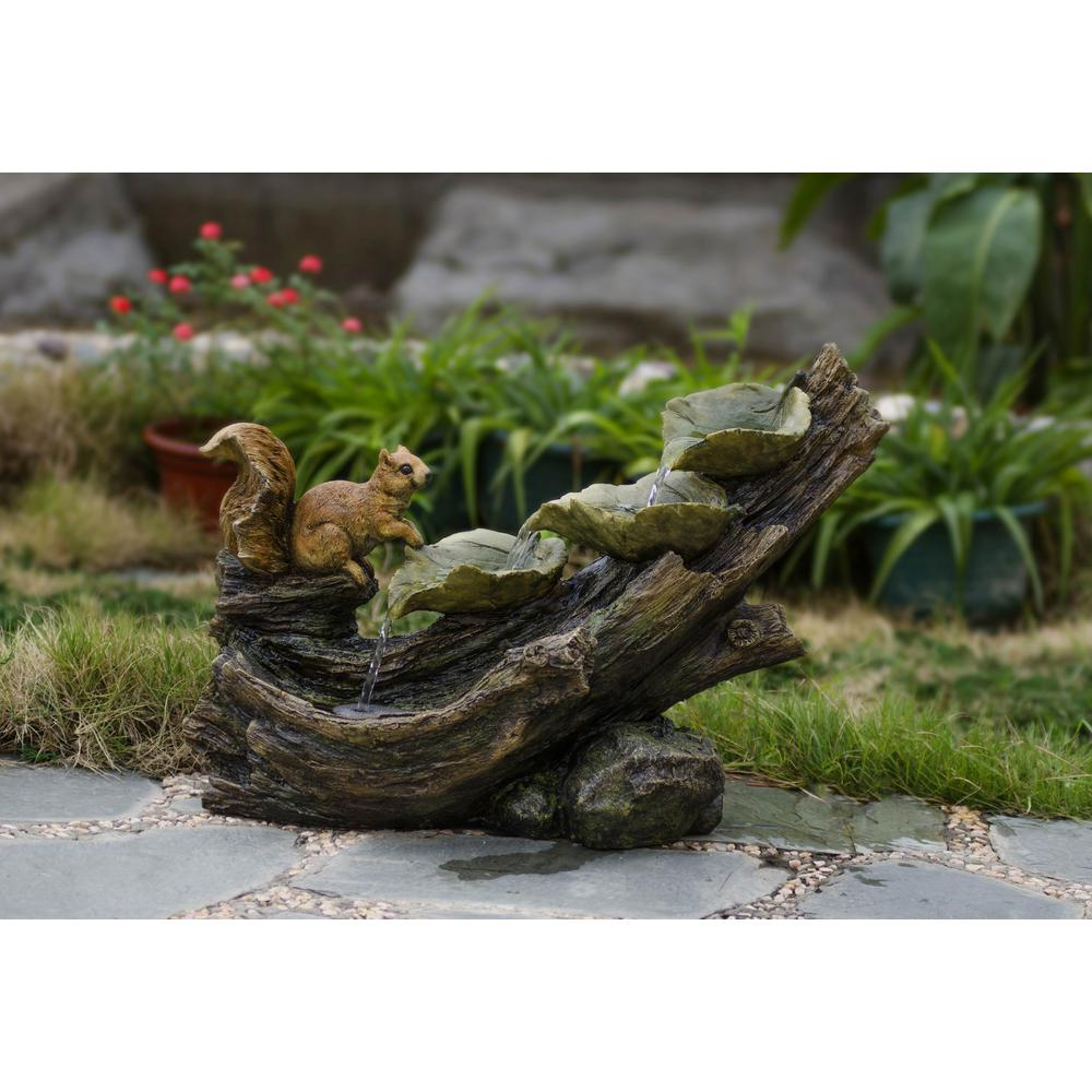 Tree Trunk and Squirrel Water Fountain, Gray