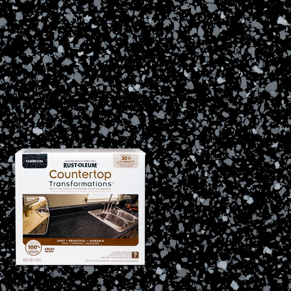 Rust Oleum Transformations 48 Oz Charcoal Small Countertop Kit 258512 The Home Depot