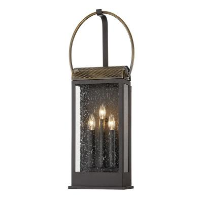 Holmes Bronze and Brass 3-Light Wall Sconce with Clear Seeded Glass Shade