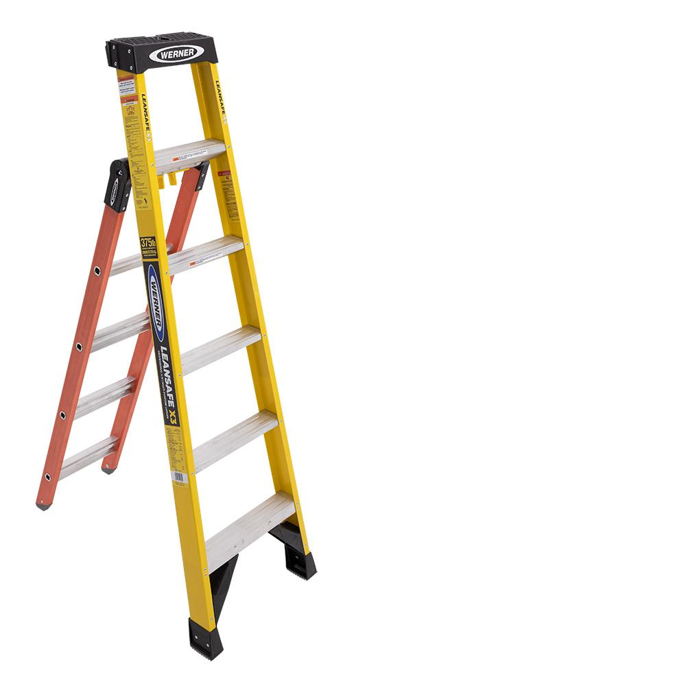 Werner Leansafe X3 6 Ft Fiberglass Professional 3 In 1 Multi Purpose Ladder 10 Ft Reach Ldpfiaa06 The Home Depot