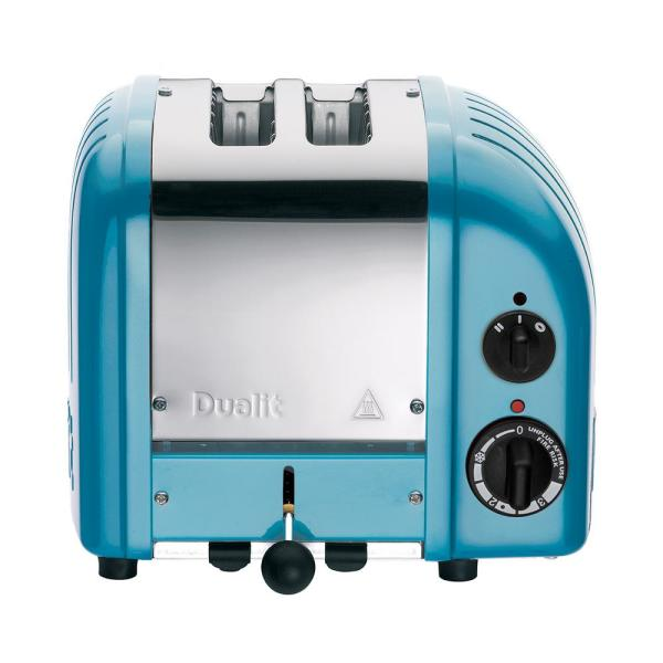 New Gen 2-Slice Azure Blue Wide Slot Toaster with Crumb Tray