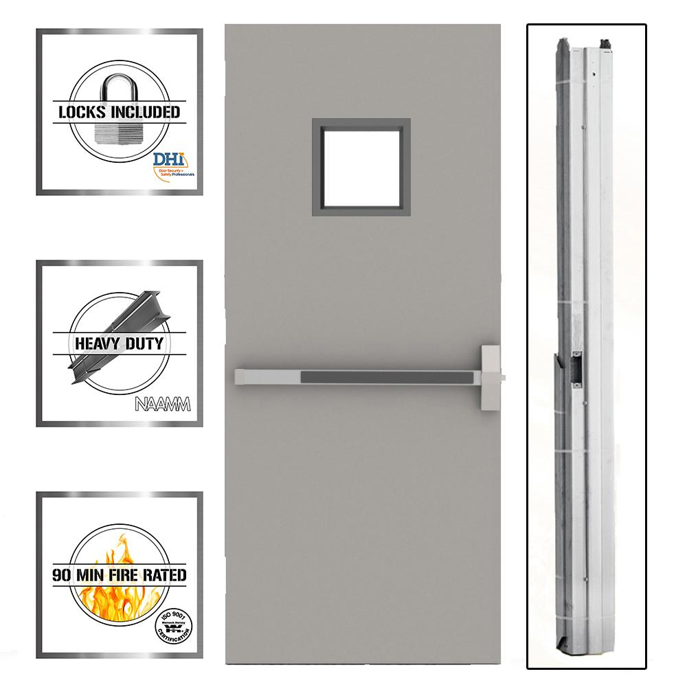 36 in. x 80 in. Gray Flush Exit with 10x10 VL Left-Hand Fireproof Steel Commercial Door with Knockdown Frame