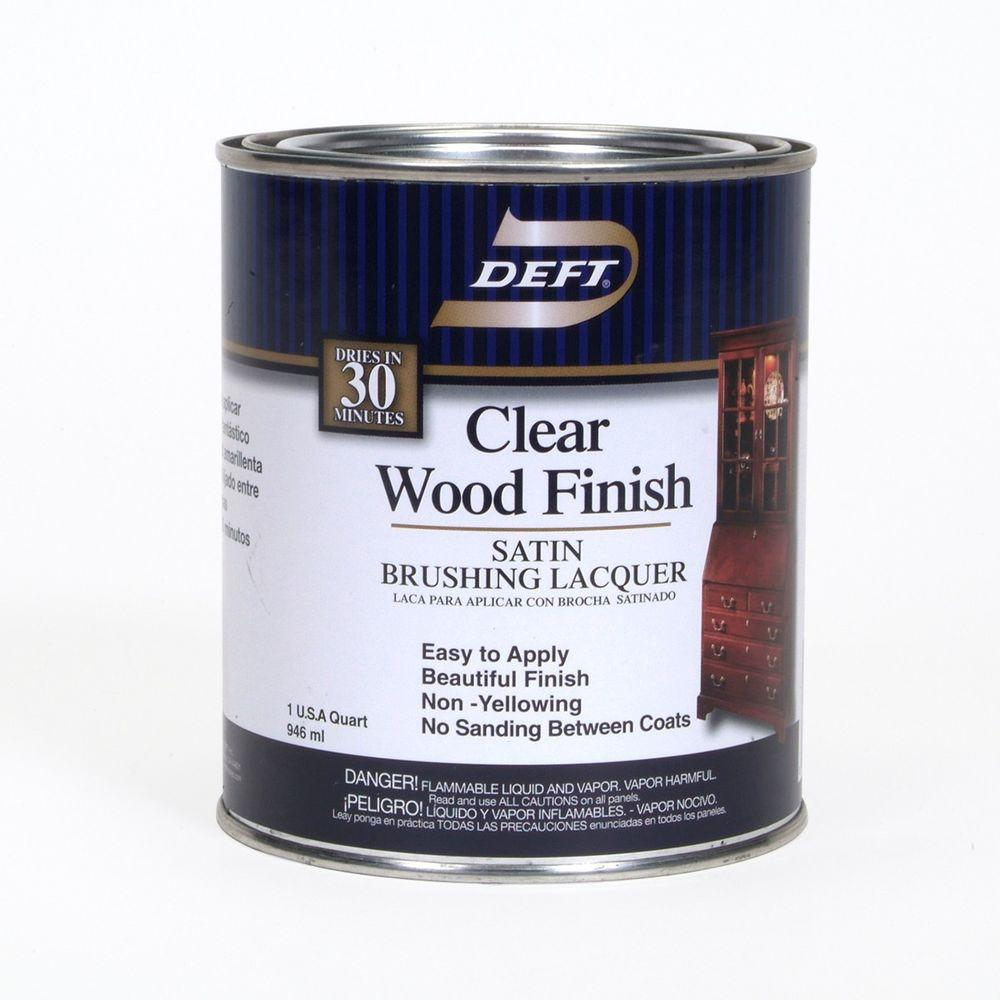 Deft 1 qt. Satin Interior Clear Wood Finish Brushing Lacquer-01704 ...