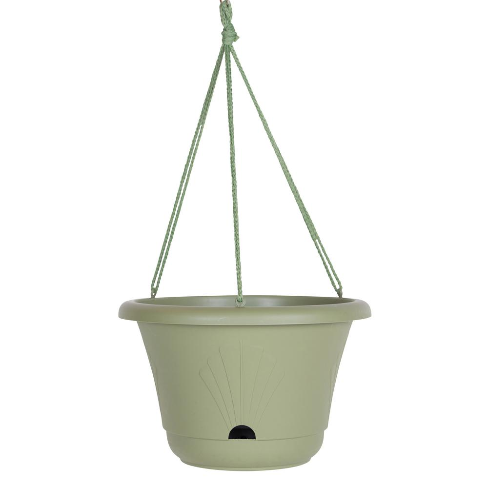 Lucca 13 in. Living Green Plastic Self Watering Hanging Basket