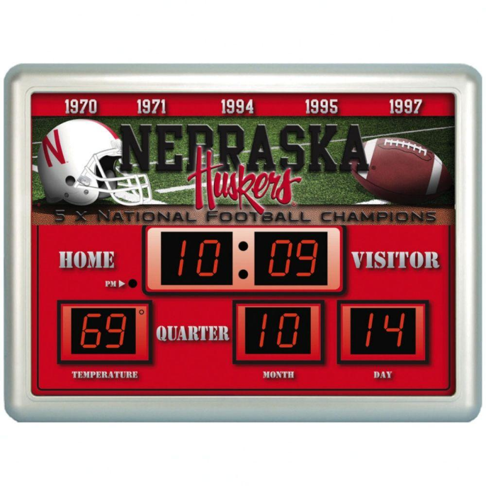 null University of Nebraska 14 in. x 19 in. Scoreboard Clock with Temperature