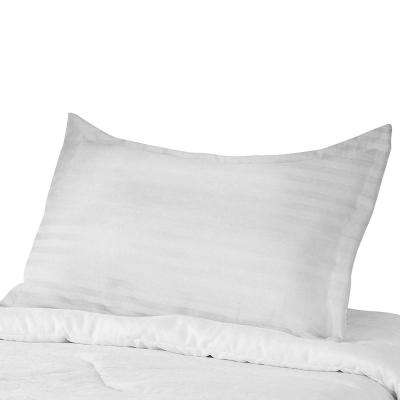Most Comfortable 300TC White Stripe Cotton Pillow Case Anti Mite Antibacterial Treated 3 in. Fringe and Over Lap Closure
